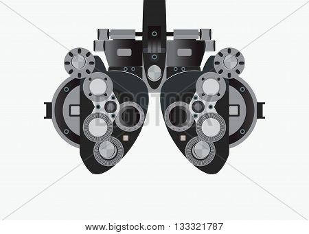 Eye examination isolated on white background equipment of test eye for Ophthalmologist health care Vector illustration.