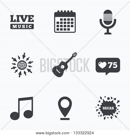 Calendar, like counter and go to web icons. Musical elements icons. Microphone and Live music symbols. Music note and acoustic guitar signs. Location pointer.