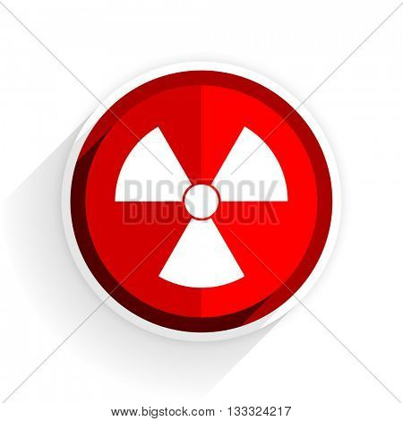 radiation icon, red circle flat design internet button, web and mobile app illustration