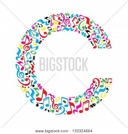 C letter made of colorful musical notes on white background. Alphabet for art school. Trendy font. Graphic decoration.