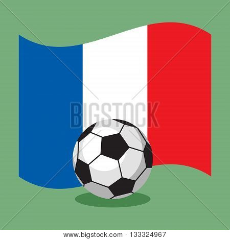 soccer football ball on French flag background. Vector illustration.