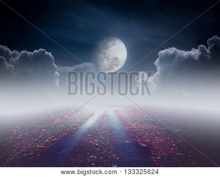 Beautiful pathway path to tranquil nighttime sky. Attractive photo of a nightly sky with large moon would make a great background. Idyllic rural view of pretty surroundings.