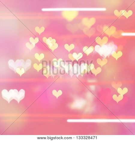 Colorful hearts bokeh on blurred pink background abstract heart bokeh.