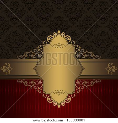 Vintage background with gold borderframe and old-fashioned patterns.