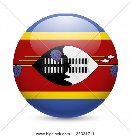 Flag of Swaziland as round glossy icon. Button with Swazi flag