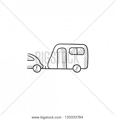 Car with caravan vector sketch icon isolated on background. Hand drawn Car with caravan icon. Car with caravan sketch icon for infographic, website or app.