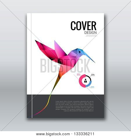 Business design background. Cover brochure book flyer Magazine template layout mockup with flying colibri hummingbird geometric shapes info-graphic, vector illustration colibri.