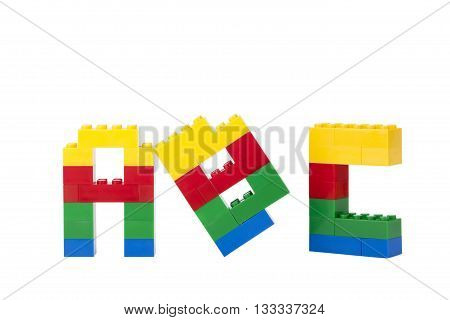 lego alphabet isolated on a white background poster