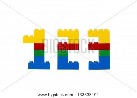 numbers made of lego blocks isolated on a white background poster