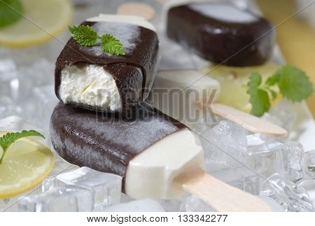 mint ice cream with lemon slices on ice cubes