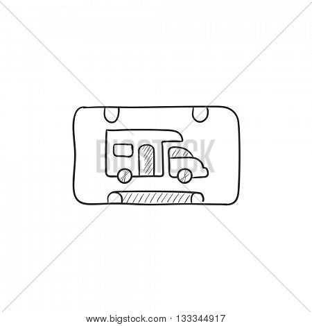 RV camping sign vector sketch icon isolated on background. Hand drawn RV camping sign icon. RV camping sign sketch icon for infographic, website or app.
