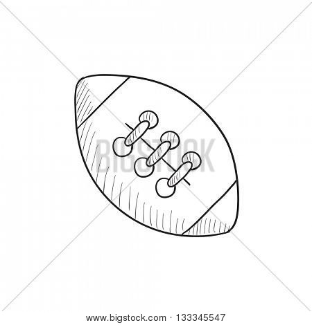 Rugby football ball vector sketch icon isolated on background. Hand drawn Rugby football ball icon. Rugby football ball sketch icon for infographic, website or app.