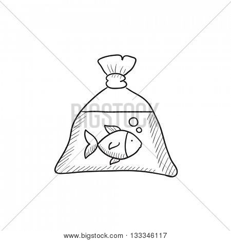 Fish in plastic bag vector sketch icon isolated on background. Hand drawn Fish in plastic bag icon. Fish in plastic bag sketch icon for infographic, website or app.