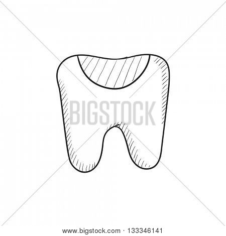 Tooth decay vector sketch icon isolated on background. Hand drawn Tooth decay icon. Tooth decay sketch icon for infographic, website or app.