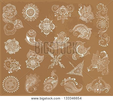 Vector abstract patterns of tattoo henna. Zentangle paisley and flower. Stock mehndi set for design.