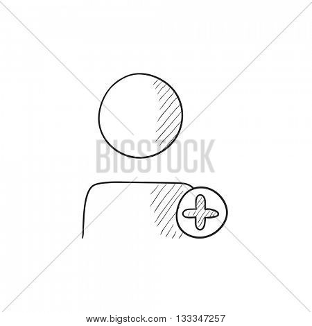 User profile with plus sign vector sketch icon isolated on background. Hand drawn User profile with plus sign icon. User profile with plus sign sketch icon for infographic, website or app.