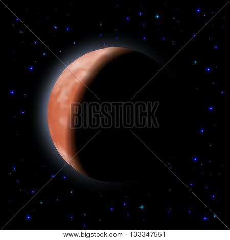 Eclipse of the planet on the black background with stars.
