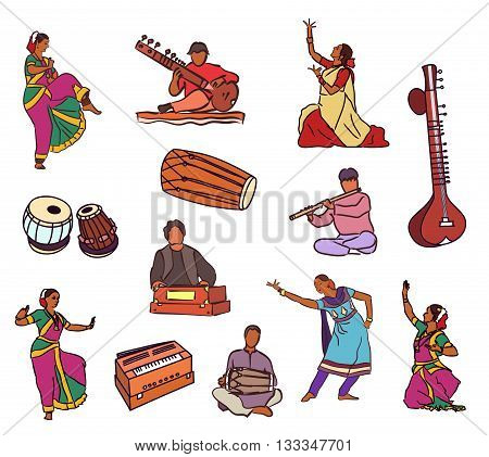 Isolated indian dancers musicians and instruments . Vector set