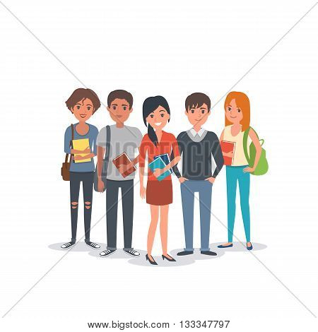 Group of young international students. Students team. Vector students illustration.