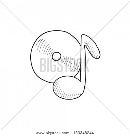 Note with disk vector sketch icon isolated on background. Hand drawn Note with disk icon. Note with disk sketch icon for infographic, website or app.