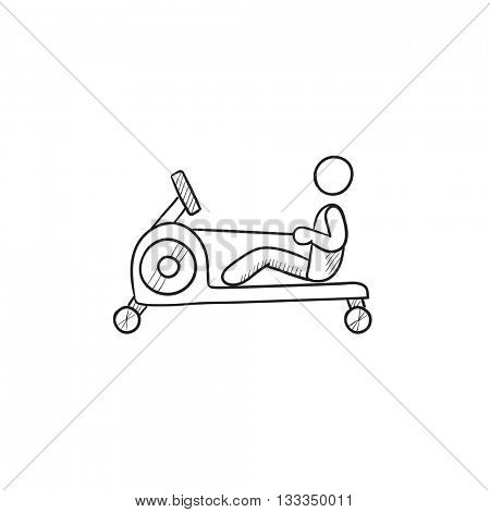 Man exercising with gym apparatus vector sketch icon isolated on background. Hand drawn Man exercising with gym apparatus icon. Man exercising in gym sketch icon for infographic, website or app.