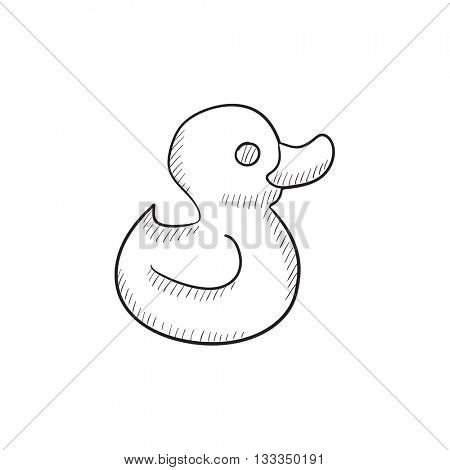 Bath duck vector sketch icon isolated on background. Hand drawn Bath duck icon. Bath duck sketch icon for infographic, website or app.
