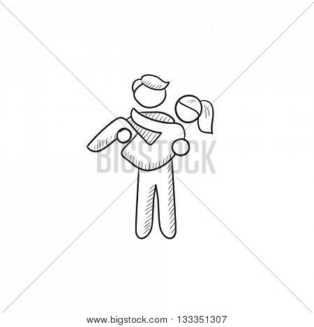 Man carrying his girlfriend vector sketch icon isolated on background. Hand drawn Man carrying his girlfriend icon. Man carrying his girlfriend sketch icon for infographic, website or app.