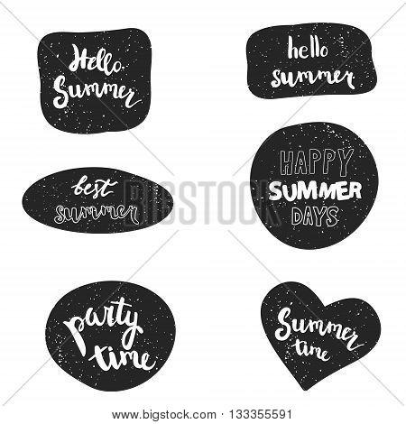 Summer stickers vector set. Handwritten party time, hello summer, summer time, best summer, happy summer days.