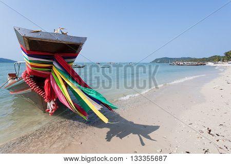 Long tail boat ribbon close-up. Samui beach in Thailand