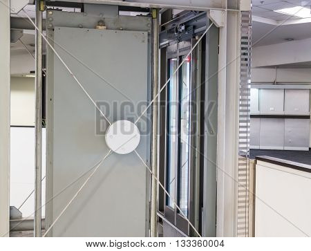 Holding frame of elevator shaft stock photo