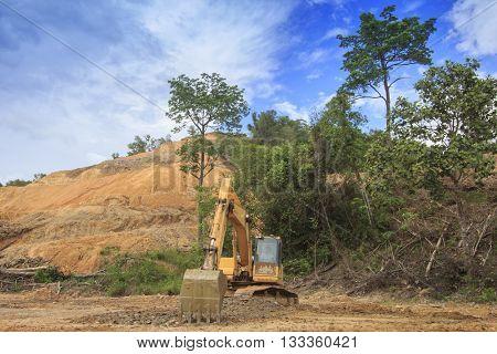 KOTA KINABALU, MALAYSIA - 07 JUNE 2016: Deforestation. Environmental destruction of Borneo rainforest to convert land to oil palm plantations.