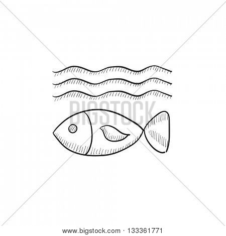 Fish under water vector sketch icon isolated on background. Hand drawn Fish under water icon. Fish under water sketch icon for infographic, website or app.