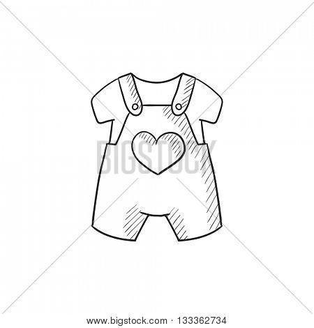 Baby overalls and shirt vector sketch icon isolated on background. Hand drawn Baby overalls and shirt icon. Baby overalls and shirt sketch icon for infographic, website or app.