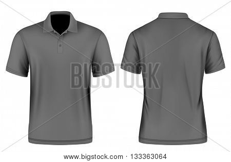 Men's slim-fitting polo shirt. Vector illustration. Fully editable handmade mesh.