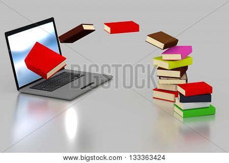 3D Rendering books flying from a lalptop