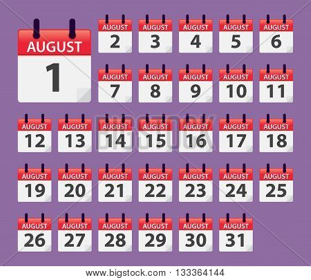 Vector stock of August Daily Calendar template icon collections
