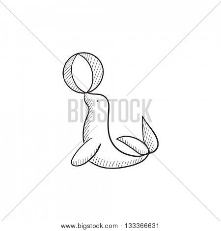 Trained fur seal playing with ball vector sketch icon isolated on background. Hand drawn fur seal playing icon. Trained fur seal playing with ball sketch icon for infographic, website or app.