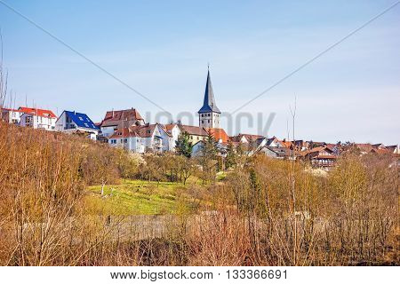 Village of Poppenweiler view from natural reserve