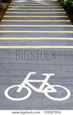 Bicycle lane sign in asphalt road -