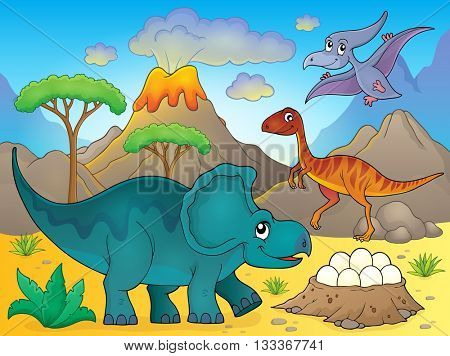 Image with dinosaur thematics 3 - eps10 vector illustration.