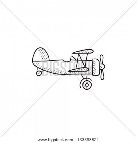 Propeller plane vector sketch icon isolated on background. Hand drawn Propeller plane icon. Propeller plane sketch icon for infographic, website or app. poster