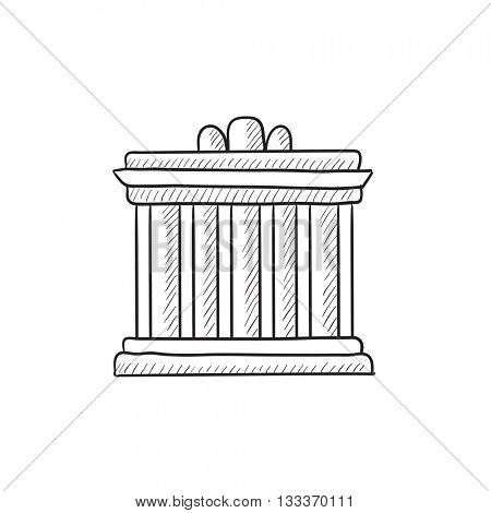 Acropolis of Athens vector sketch icon isolated on background. Hand drawn Acropolis of Athens icon. Acropolis of Athens sketch icon for infographic, website or app.