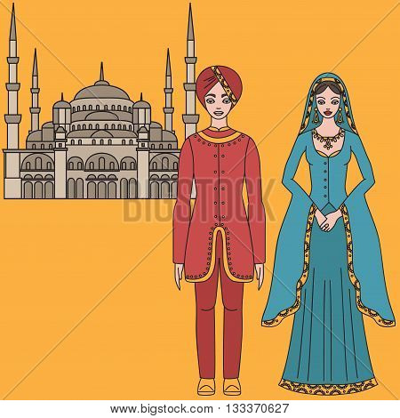 Traditional turkish clothing vector photo bigstock traditional turkish clothing national middle east cloth man and woman sultan costume and the sciox Images
