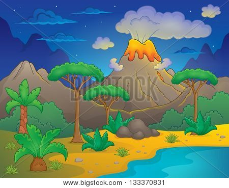 Prehistoric night landscape 1 - eps10 vector illustration.