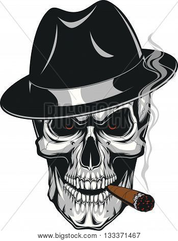 Vector illustration of an evil human skull in hat smoking a cigar on a white background