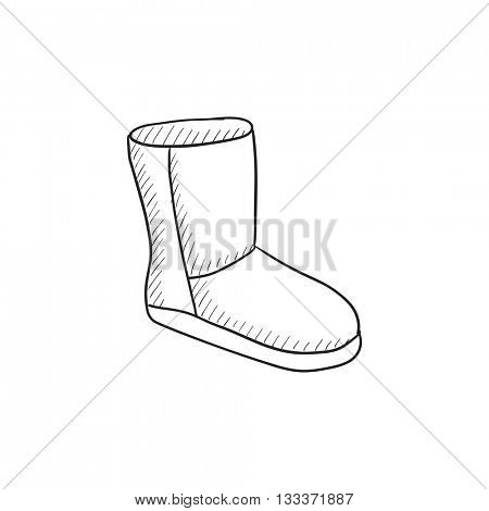 Fuzzy winter boot vector sketch icon isolated on background. Hand drawn Fuzzy winter boot icon. Fuzzy winter boot sketch icon for infographic, website or app.