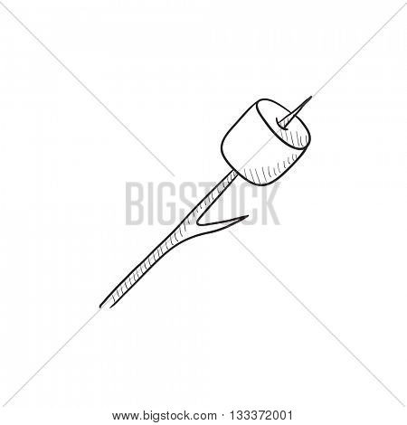 Marshmallow roasted on wooden stick vector sketch icon isolated on background. Hand drawn Marshmallow roasted on stick icon. Marshmallow roasted on stick sketch icon for infographic, website or app.