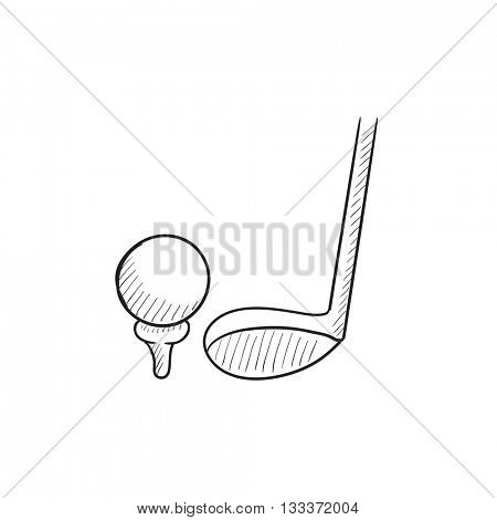 Golf ball and putter vector sketch icon isolated on background. Hand drawn Golf ball and putter icon. Golf ball and putter sketch icon for infographic, website or app.