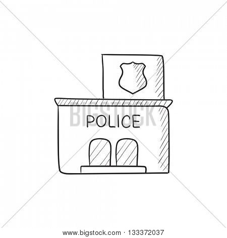 Police station vector sketch icon isolated on background. Hand drawn Police station icon. Police station sketch icon for infographic, website or app.