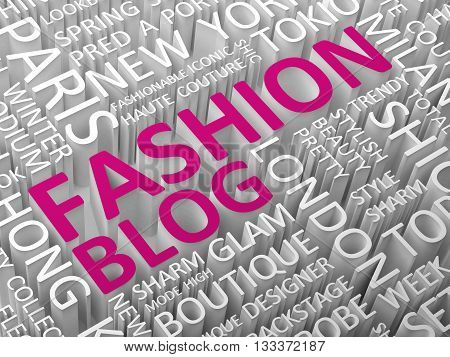 Fashion blog word cloud  with associated words 3d illustration.
